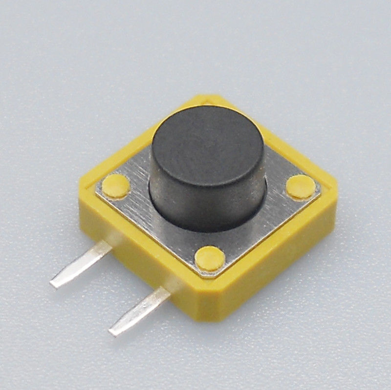 2 Side Pin Momentary Tactile Switch 50mA Rating Yellow House With Black Button