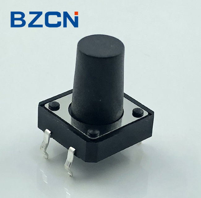 Black Momentary 12mm Tactile Switch High Operation Force With 50mA Rating