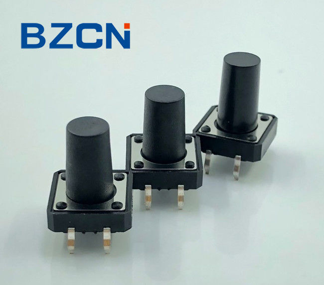 Flat Stem Sealed Tactile Switch Black Color Tact Feeling Tactile Switch